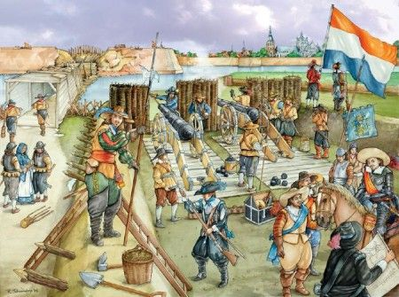 80 jarige oorlog -  Dutch soldiers defend the fortress from the Spanish troops