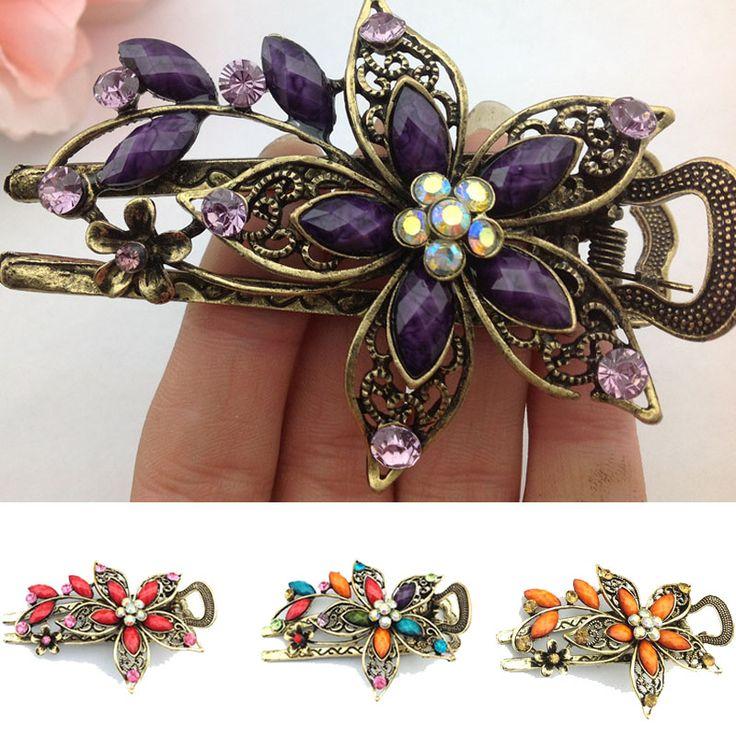 Fashion Charm Vintage Elegant Flower Hair Clip Crystal Hairpin Barrette Hair Accessories Gift acessorio para cabelo Hair Claws