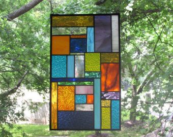 CRAFTSMAN STAINED GLASS art panel glass art home by hankbarnes1234