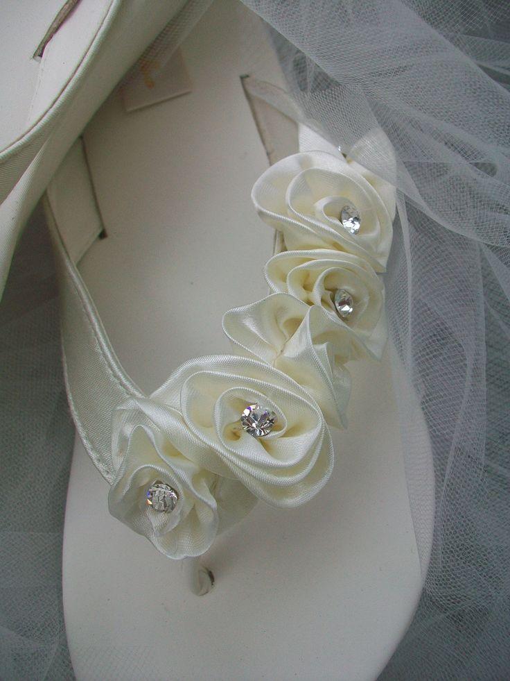 Wedding Shoes Platform Wedge Shoes Flip Flops Crystal Wedding Shoes Sandals Rhinestone Crystals Ivory White Black  Beach Summer Wedding. $96.00, via Etsy.