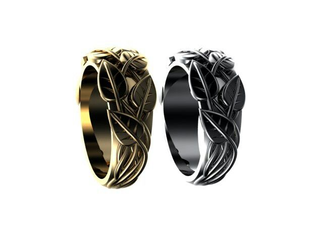 White and yellow gold leave rings