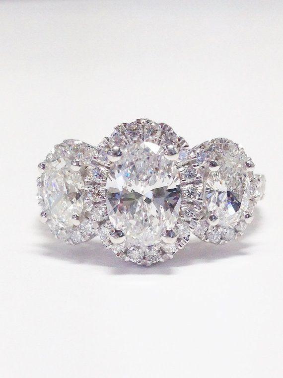 4c90530fbcfb21 3.00CT Diamond Oval Shape Halo 3 Stone Engagement Ring Anniversary Rings  Bands Promise Band Diamonds Platinum 18K 14K White Yellow Rose Gold