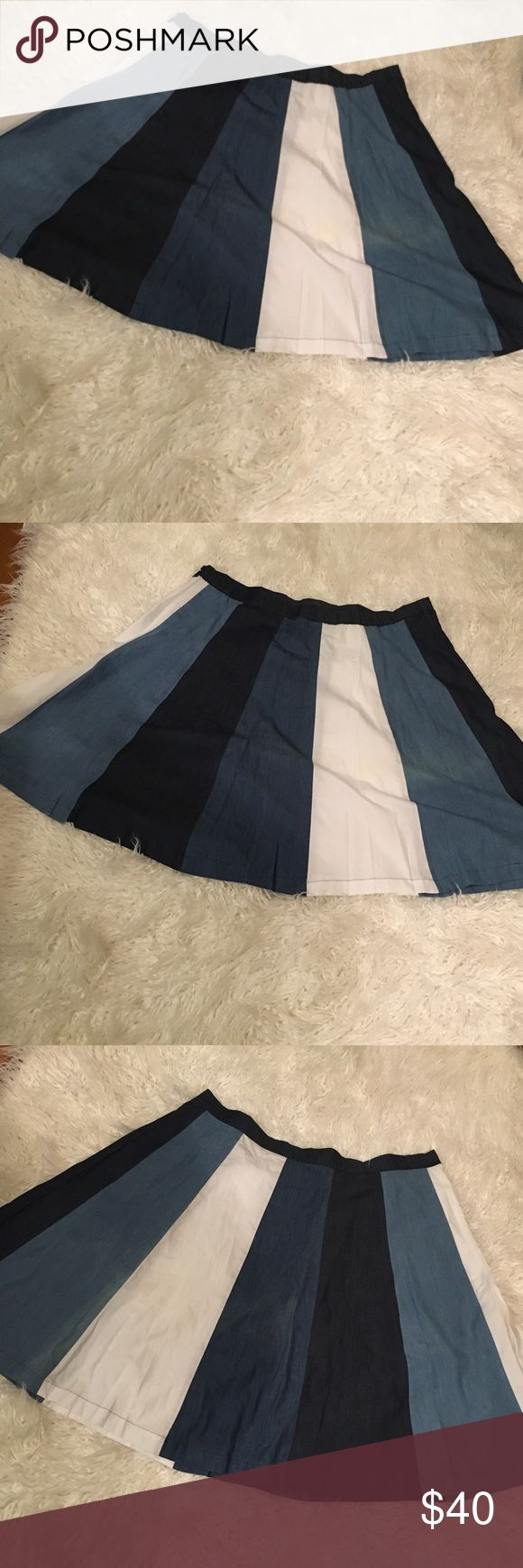 Eloquii circle denim skater skirt (PLUS SIZE) ****NEW WITH TAGS***** Plus Size circle skirt ... Denim  ....Hits above the knee length .... great with a pair of flats or knee length boots... Never worn Eloquii Skirts Circle & Skater