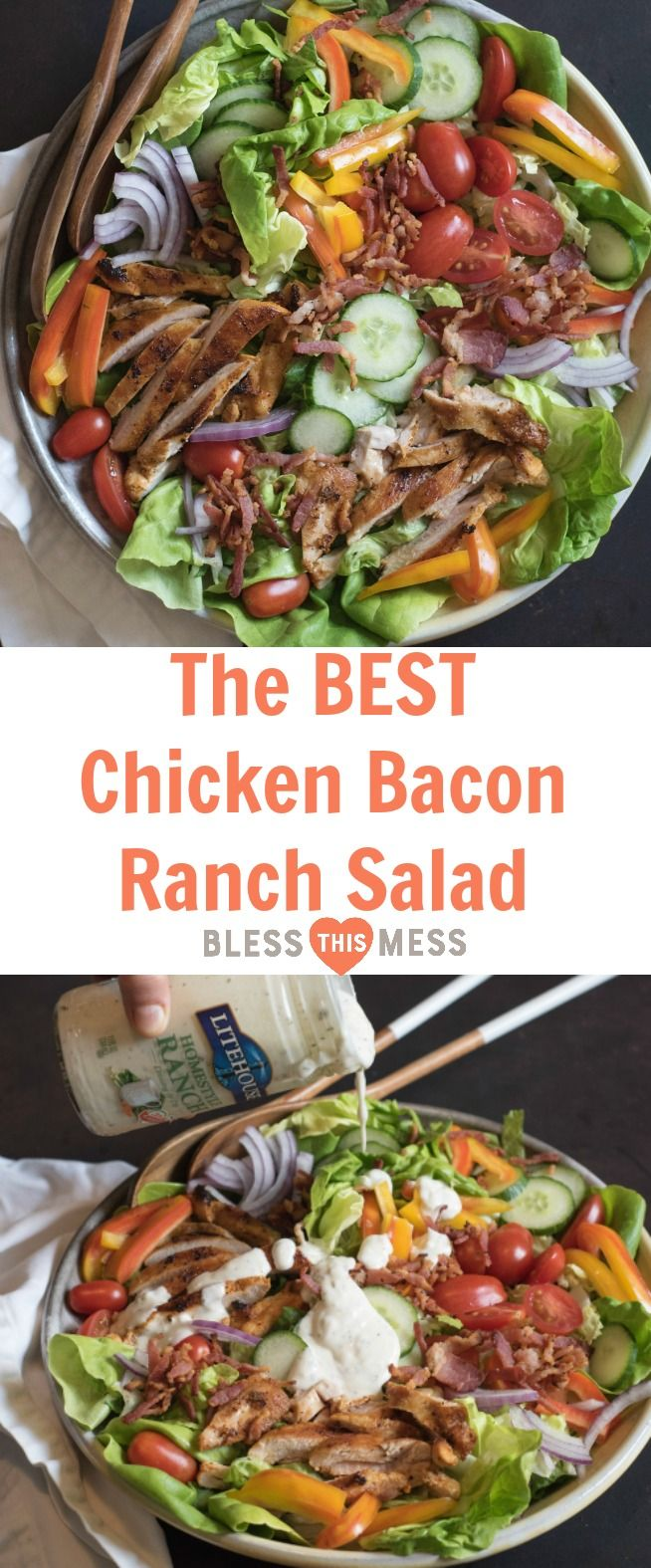 The BEST Chicken Bacon Ranch Salad of summer is a main dish green salad topped with all of your favorite things such as pan seared chicken, bacon, tomatoes, cucumber, and plenty of ranch dressing! AD