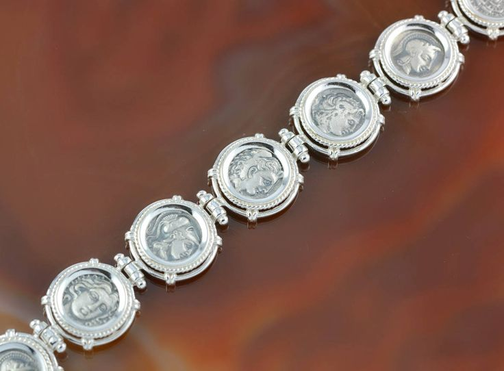ancient greek coins silver bracelet, Athena bracelet, ancient coin, coin bracelet, antique bracelet, antique coin bracelet, greek coin by GreekGoddessJewelry on Etsy