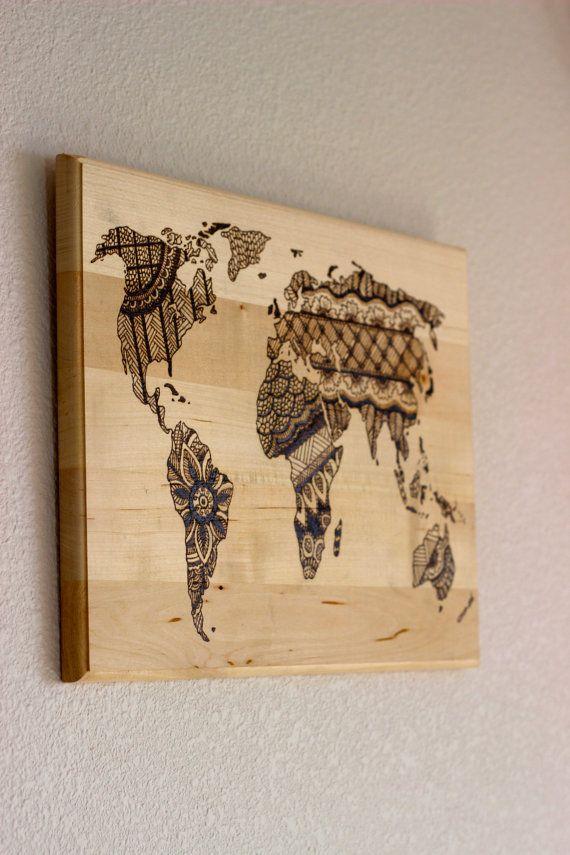 Wood Burned World Map by whisperingwoodlands on Etsy