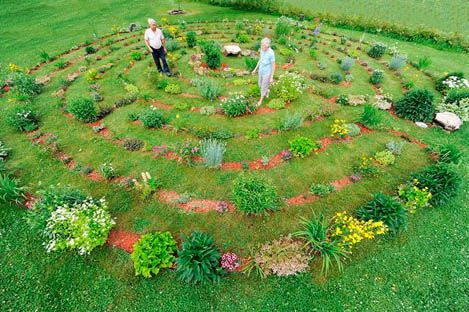 Labyrinth Garden  This is very close to what I want to do with my raised bed veggies and herbs,