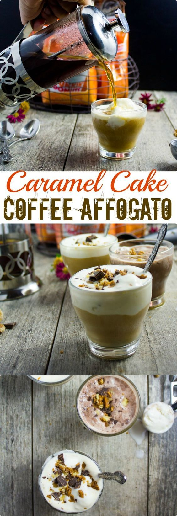 Caramel Coffee Cake Coffee Affogato. The best twist on an Italian all time favorite dessert--made with piping hot flavoured American coffee, and sprinkled with caramel bits, nuts and chocolate chips--PURE coffee Perfection! www.twopurplefigs.com #ad #DunkinatHome: