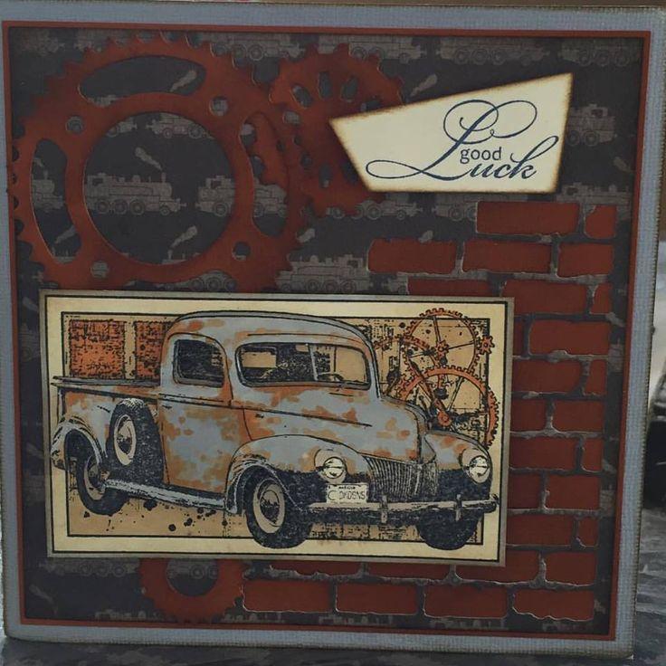 Rustic old ute stamped image with die cutting and rust effects #amandasofmogo #mogo #handmade #cardmaking #darkroomdoor #oldute #rust #cogs