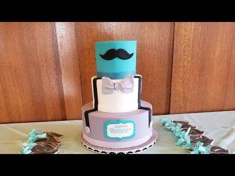 Pastel bigotón para baby shower - YouTube