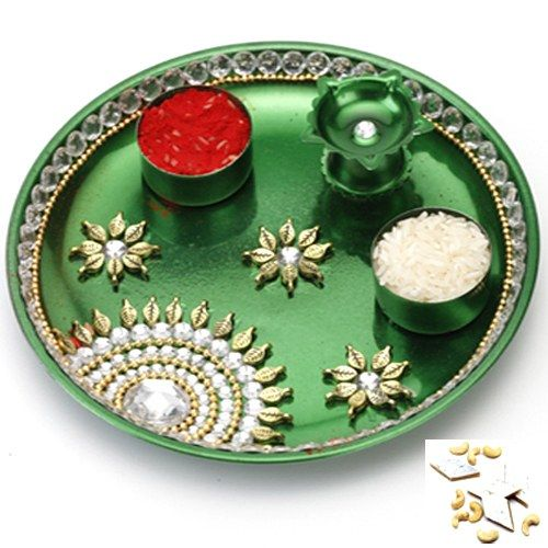 Green Pooja Thali with 1000 gms Kaju katli - Online Shopping for Diwali Pooja Accessories by Ghasitaram Gifts