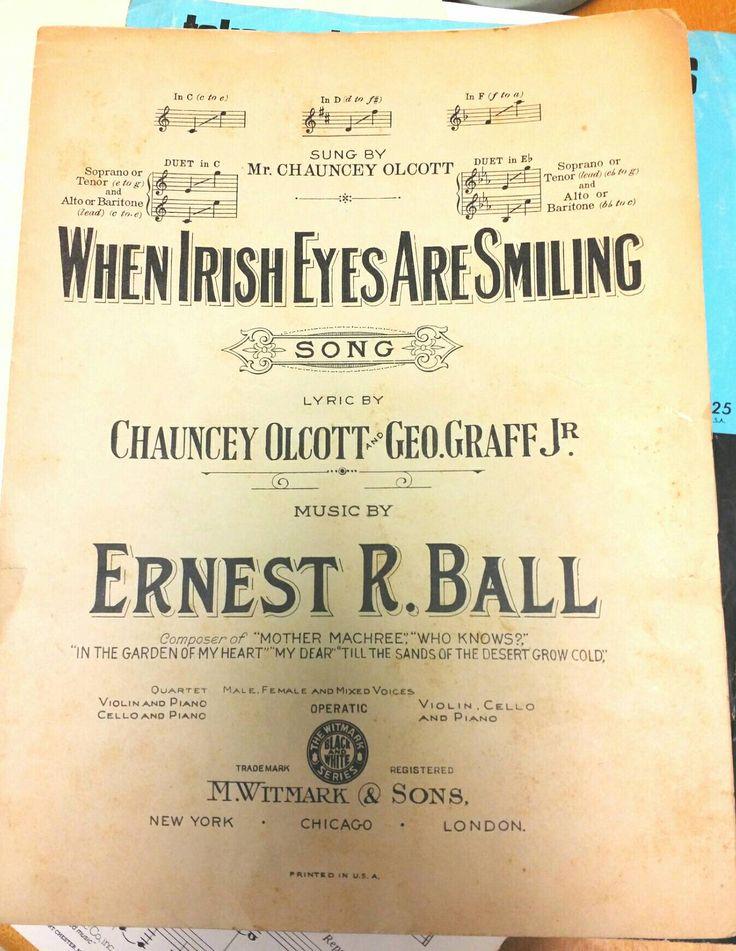 When Irish Eyes Are Smiling 1912 Vintage Antique Sheet Music by RemembrancesofYours on Etsy