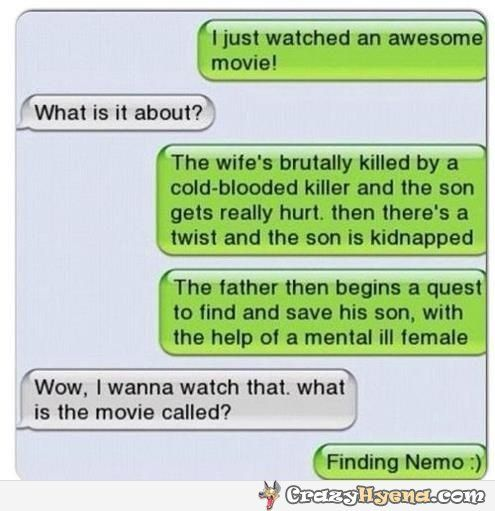 The wife's brutally killed by a cold-blooded killer and the son gets really hurt. Then there's a twist and the son is kidnapped. The father then begins a quest to find and save his son, with the help of a mental ill female. Hilarious iPhone messages