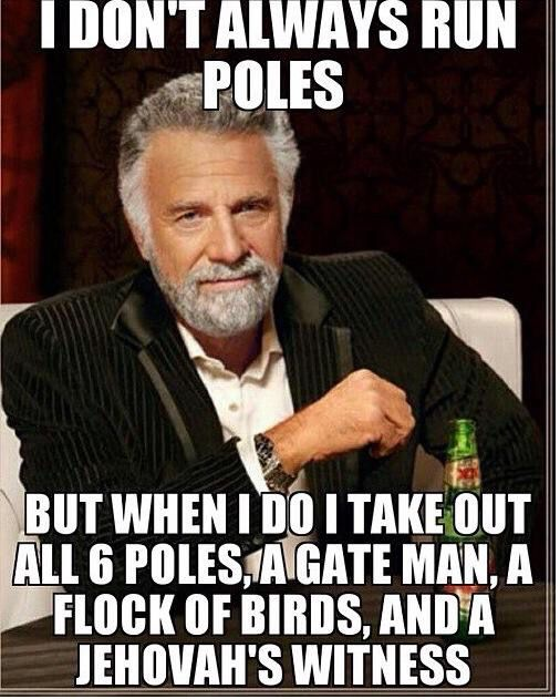 Especially when you get a barrel horse with that barrel horse attitude to do poles lol.....