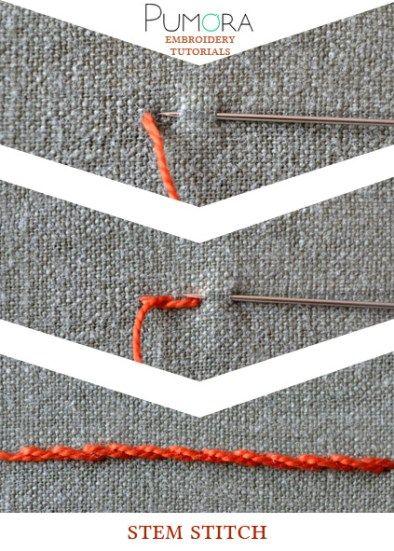 1. stem stitch 2. whipped stem stitch 3. split stitch 4. side-to-side stitch 5. portugese stem stitch 6. outline stitch 7. raised stem stitch 8. japanese stitch 9. stem stitch as filling Stem stitc…