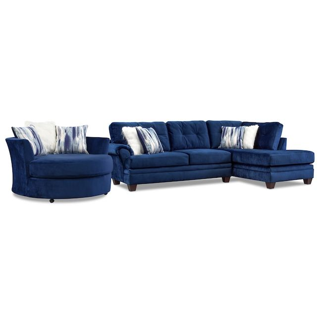Cordelle 2 Piece Sectional With Chaise And Swivel Chair Set Value City Furniture And Mattresses Blue Sofas Living Room Furniture Blue Couch Living Room