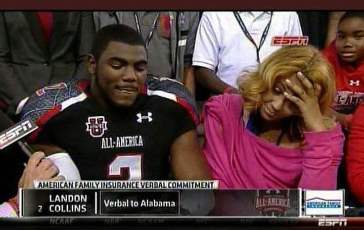 Landon Collins verbally commits to Alabama, live on ESPN, against his mother's wishes. Moms are not always right! Roll Tide!  #Alabama #RollTide #BuiltByBama #Bama #BamaNation #CrimsonTide #RTR #Tide #RammerJammer