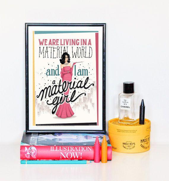 Material Girl musique affiche, paroles de typographie Vintage Art Print, Illustration de la chanson Pop, chanson paroles calligraphie Art, créatif cadeau pour elle