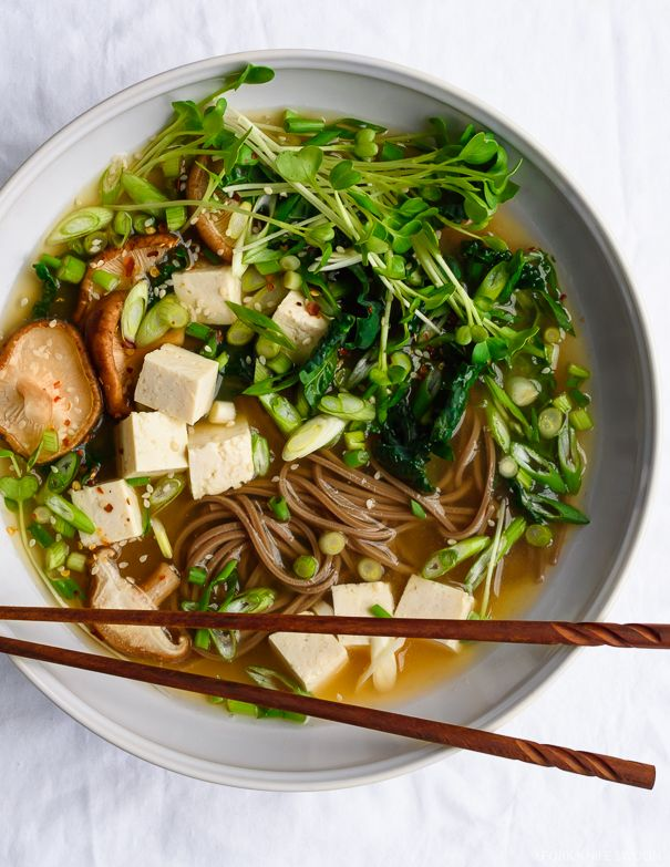 GINGER MISO SOBA SOUP ~~~ this recipe incorporates my favorite of favorite of favorites in the sprout family... the kaiware aka daikon sprouts. her beautifully constructed recipe reflects modern japanese cookery and then some. ♥ [Japan] [forkknifeswoon]