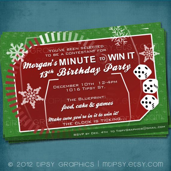 Fun Christmas Party Ideas For Adults: Holiday MINUTE To WIN IT Party Invite/ Photo Optional- Fun