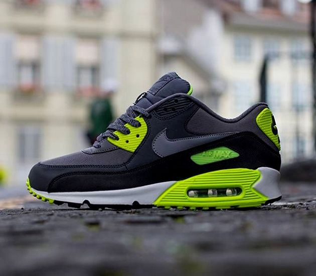 check out b45ec 694a1 Nike Air Max 90 Essential – Dark Grey  Cool Grey – Anthracite – Volt   Sneakers  Pinterest