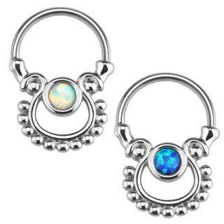 Septum Klicker - Ring - Silber - Opalith [02.] - blau