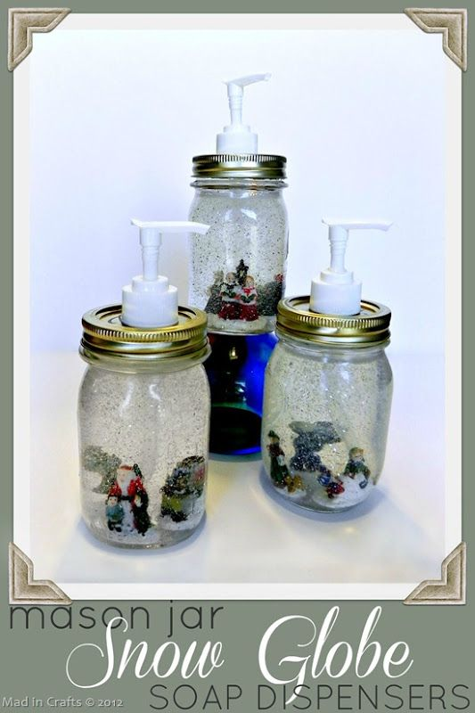 To make Mason Jar Snow Globe Soap Dispensers, you will need: mason jars with lids clear liquid soap (in a container with a pump)* Christmas village people* super glue* glitter* tongs funnel hammer Phillips screwdriver