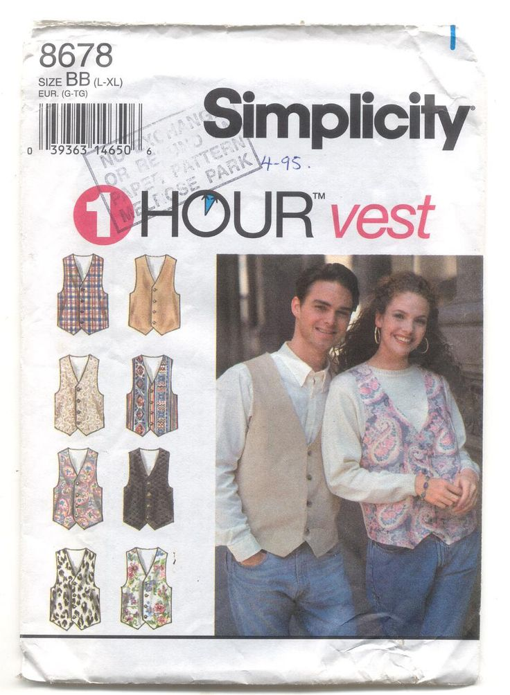 Simplicity 8678 ladies ans Mens Lined Vest Vintage Sewing Pattern by KnitsanStitches on Etsy