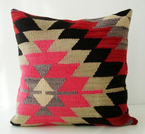Sukan / SOFT Hand Woven - Turkish Kilim Pillow Cover - 16x16