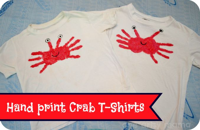 Hand print crab T-shirt - great gift idea for a Baltimore dad!