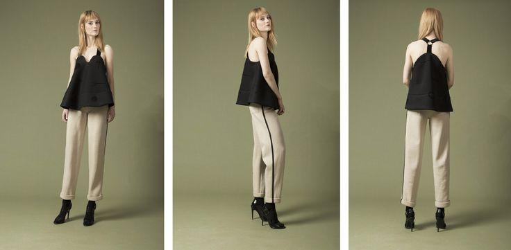 rounded top , high rise trousers