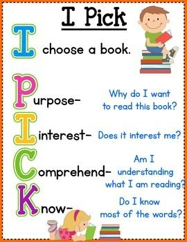"*Free Reading poster*  ""What book should I read?"" is a very common question children have during reading time. It's important for kids to be able to learn how to select books appropriate for them. This product is a helpful tool for students to refer to when trying to choose a book. I Pick is an acronym used to help children become independent in finding good fitting stories. Poster and bookmarks are included.  Enjoy!"
