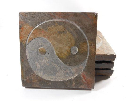 YIN YANG COASTER Set  Carved Natural Slate by BlythHouseCreations (Home & Living, Kitchen & Dining, Drink & Barware, Drinkware, Coasters, yin yang coasters, feng shui coasters, oriental coasters, drink coasters, stone coasters, yin yang decor, yin yang wall art, yin yang art, ying yang, asian decor, yin yang clock, chinese decor, beverage coasters)