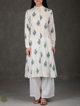Ivory-Blue Block Printed Cotton Kurta by Jaypore