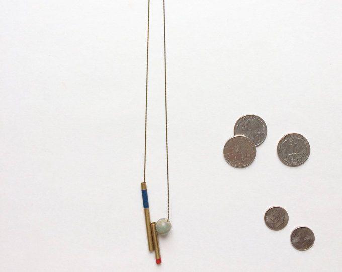 Plateado de esmalte tubos collar con piedras naturales y oro 14k cadena