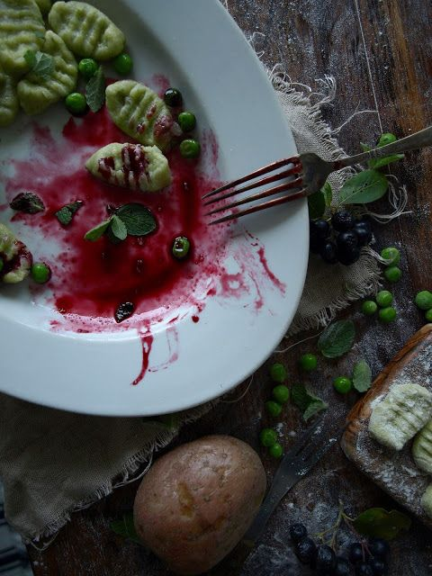 Gnocchi with peas, mint  & chokeberry sauce.