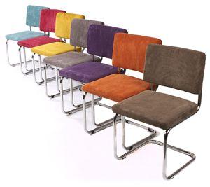 Vous la trouvez chez Morvanbelle: Chaise design et tendance à petit prix.  Confortable, rétro et pourtant moderne avec son tissu de velours côtelé et sa structure tubulaire en chrome, disponible en huit couleurs et aussi à un prix très abordable. Vous aimez un intérieur sobre et chic ? Choisissez une seule couleur. Vous préférez une mélange de couleurs ? Osez l'effet bariolé ! Prix à l'unité 109,95 €.