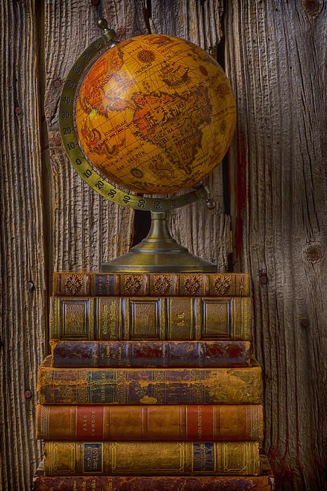 Title: Old Globe On Old Books Artist: Garry Gay Medium: Photograph-Photography