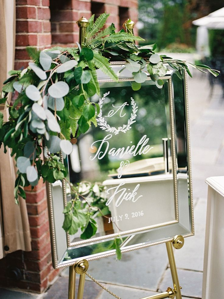 Stunning mirror framed mirror with mercury glass look, hand painted as a custom wedding welcome sign. Keepsake and home decor after the wedding.