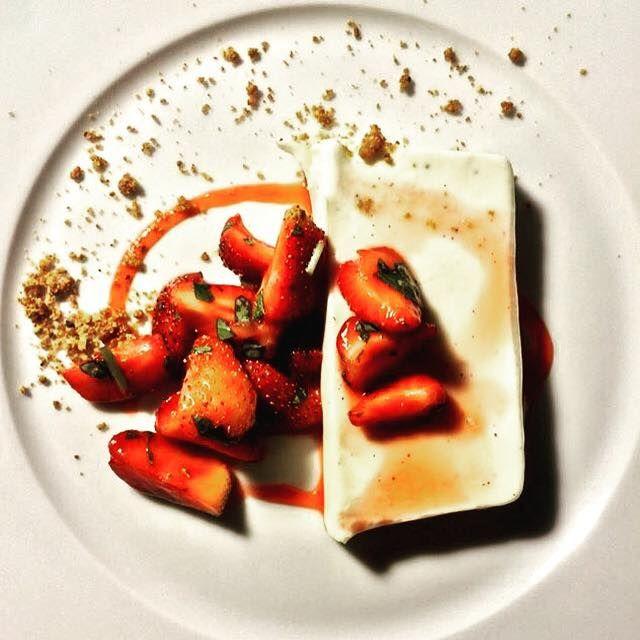 Goat cheese panna cotta ~ strawberry & basil @ Brody