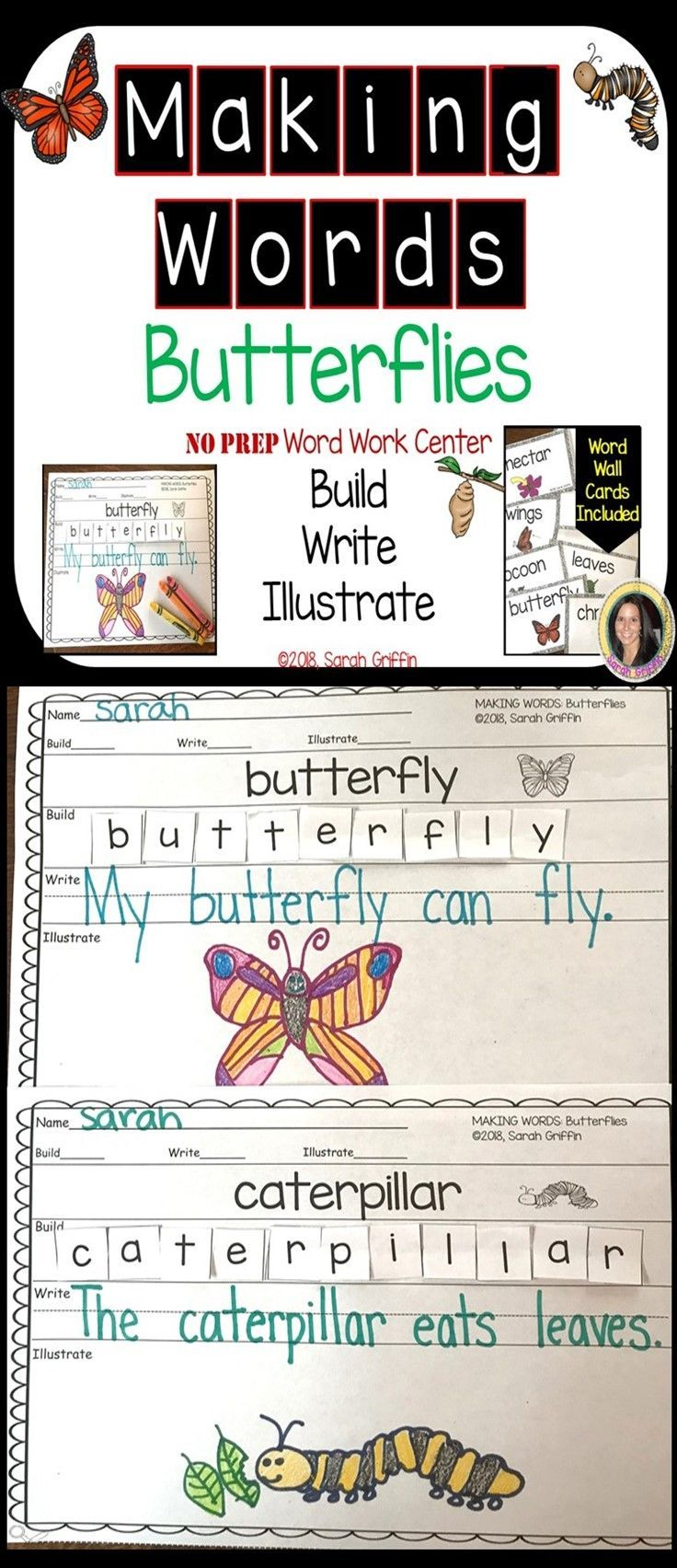 Making words ~ Butterfly Life Cycle ~ Writing Center | Favorites