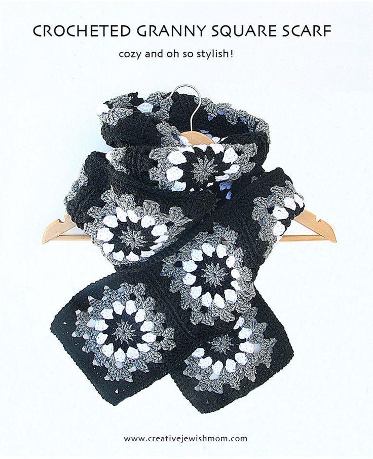 LOVE THE COLORS    Crocheted Granny Square Sunburst Scarf