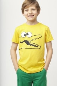 Boy's Short Sleeve Crewneck Big-eyed Croc Graphic T-shirt from Lacoste | Shop Lacoste through shop.fuelperks.com and earn fuelperks! rewards!