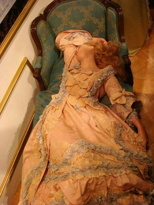 Sleeping Beauty - 1770's - oldest surviving waxwork, located at Madam Tussaud's in London. She also has a mechanical heart beat. This is thought to be modelled by Mme du Barry, the teenaged mistress of Louis XV.