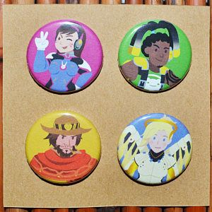 Overwatch Pin/Button Set - D.Va, Lúcio, McCree, Mercy