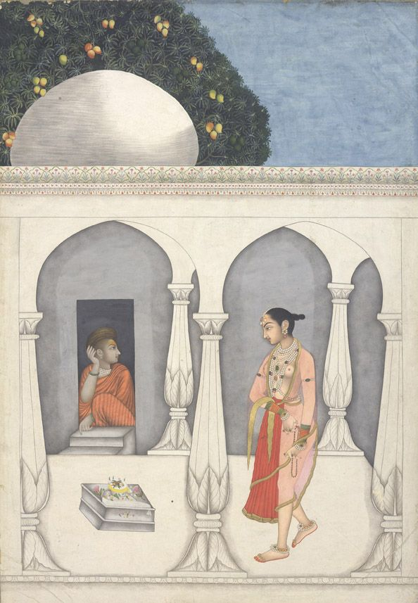 Muhammad Faqirullah Khan (active 1720–70) A lady visiting a Saivite shrine ca. 1750