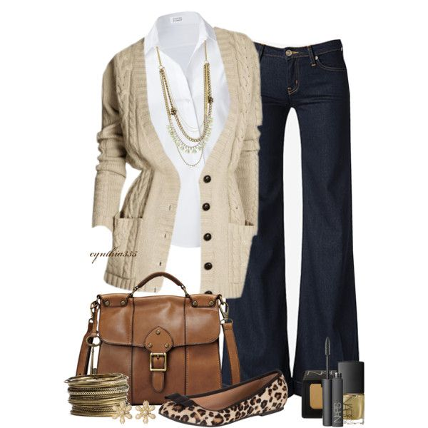 Comfy beige cardigan, white shirt, and neutral accessories with jeans: cynthia335 on Polyvore