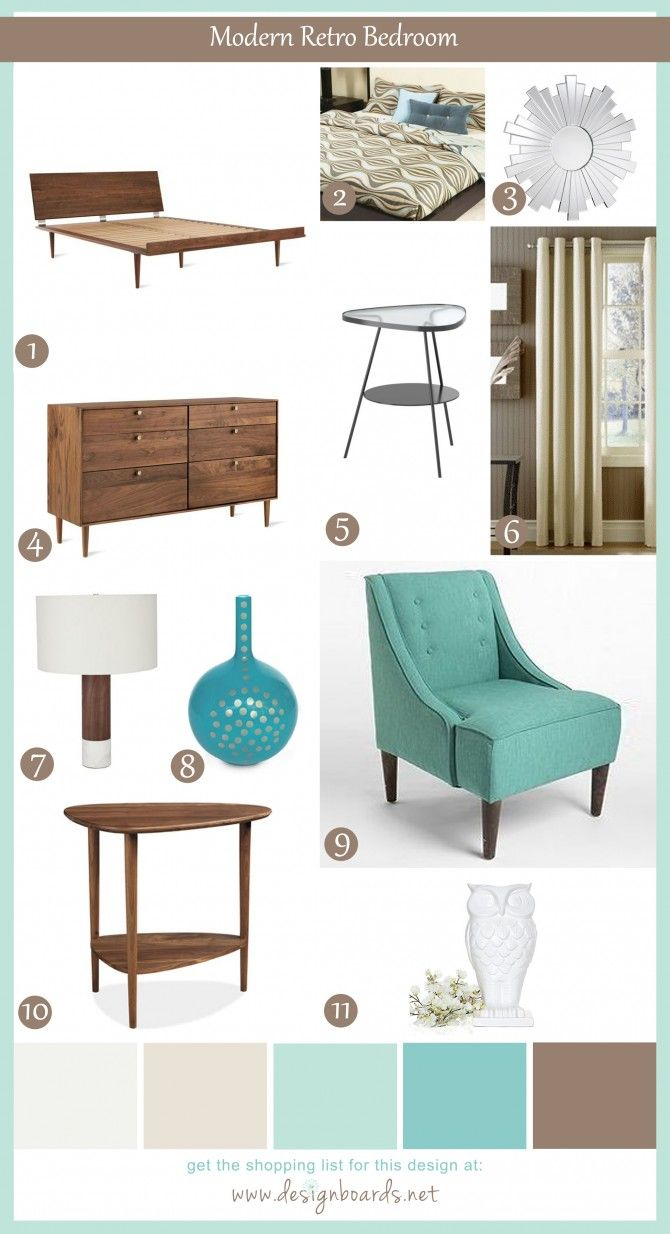 Modern Retro Bedroom 4 | Design    These styles are not me. But I love these colors!!!-Paula
