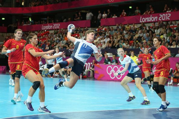 Lyn Byl of Great Britain shoots and scores a goal in the Women's Handball preliminaries Group A - Match 5 between Montenegro and Great Britain on Day 1 of the London 2012 Olympic Games at the Copper Box on July 28, 2012 in London, England.