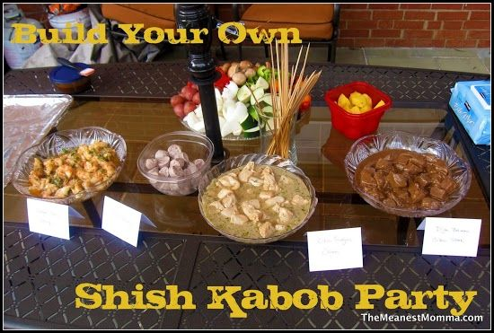 Shish-Kabob Party  http://themeanestmomma.com/2012/09/05/a-shish-kabob-party-fit-for-a-caveman/